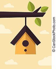 Bird House - Vector Illustration of Clear Sky and a Bird...