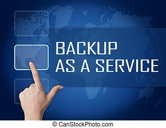 Backup as a Service concept with interface and world map on...