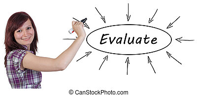Evaluate - young businesswoman drawing information concept...