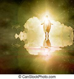 Figure walks on water