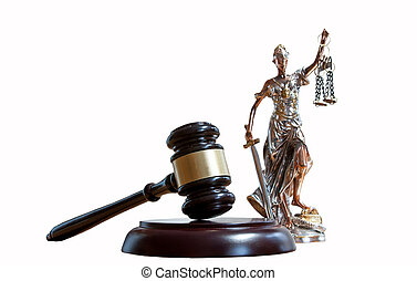 Themis Figurine and gavel on the table