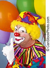 Clown Has a Secret - Clown with a secret, holding his finger...