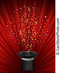Music background with a magic top hat.