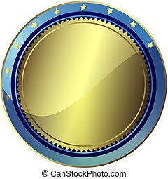 銀色, 以及, 藍色, 褒獎, (vector, EPS, 10)