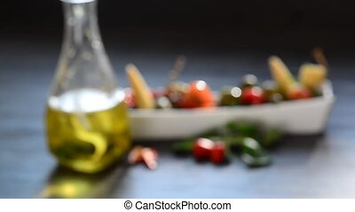 salads, fresh vegetables and beverage - Closeup pickles,...
