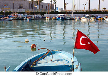 Small fishing boat - Small blue fishing boat with red...