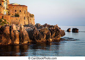 the historical town of Cefalu in Si