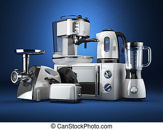 Kitchen appliances. Blender, toaster, coffee machine, meat...