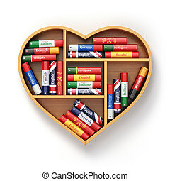 Bookshelf with ictionaries in form of heart. Learning...