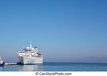 Holiday cruise liner - Small white holiday cruise liner in...