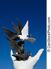 Peace monument against a blue sky on the promenade in...