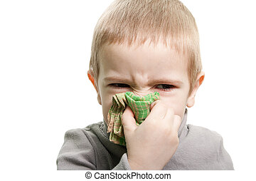 Blowing nose - Human child cold flu illness tissue blowing...