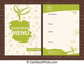 Template of a vegetarian menu for a cafe, restaurant, bar...