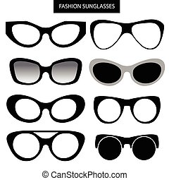 A set of fashion sunglasses and frames Cat Eye Vector...