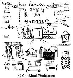 Vector set of hand-drawn for shopping and travel. Discounts,...