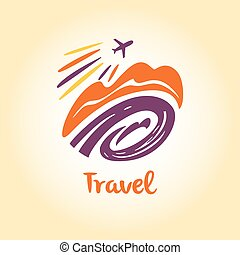 Vector logo travel company. Tourist trip. The aircraft in...