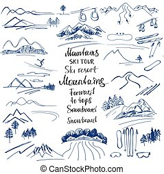 Mountain landscape. Hand-drawn sketches of the mountains....