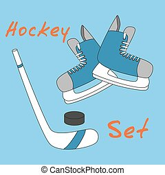 Set icon of hockey equipment icons - skates, stick and puck.