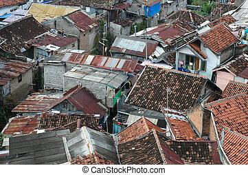 slum area - portrait of slum area that commonly found in...