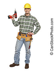 manual worker with drill - manual worker with red electric...