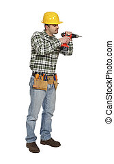 handyman on duty - young handyman on duty isolated on white...