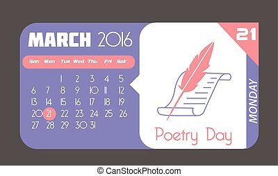 21 March Poetry Day - Calendar for each day on March 21....