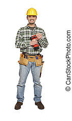 manual worker with drill