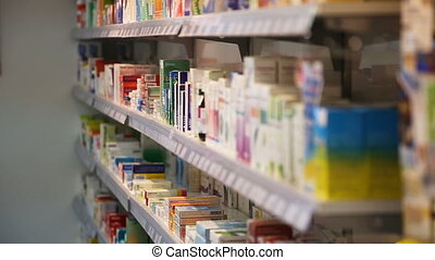 Drugstore,cosmetics and healthcare interior. - Shelves with...