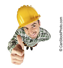 funny handyman thumb up - portrait of young funny handyman...
