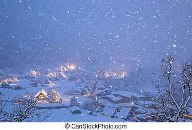Shirakawago light-up snowfall - Shirakawago light-up with...