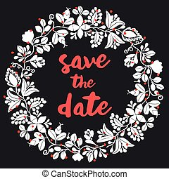 Save the date card vector wreath