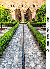moorish garden Zaragoza Spain - moorish garden of aljaferia...