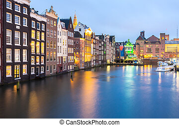 Amsterdam at dusk - Amsterdam Canals and Saint Nicholas...