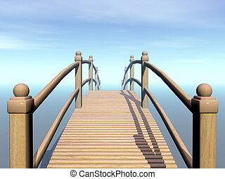 Wooden bridge to the sky - 3D render - Wooden bridge leading...