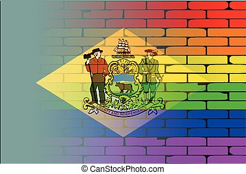 Rainbow Wall Delaware - A well worn wall painted with a LGBT...