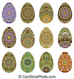 Easter egg design set decorated in orient style. Vector...