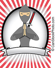 Cartoon Ninja Oval Banner Ad - Posing vector illustrated...