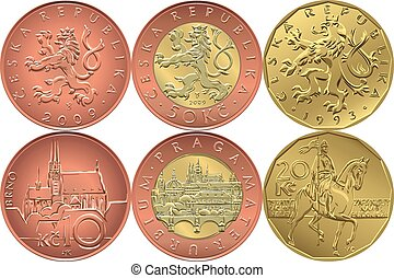 vector Set reverse and obverse czech money coin - Vector Set...