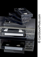 VCR tape player brought out from storage - Antique VCR movie...