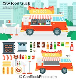 Food truck with snacks in the city