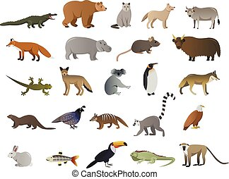 Vector image of wild animals in ZOO