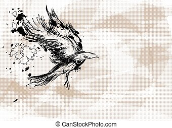 crow on abstract background