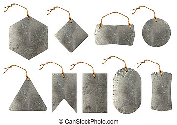 Set of metal tag with rope isolated on white background...