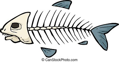 Fish skeleton doodle - Cartoon doodle fish skeleton on a...