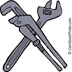 Two adjustable wrenches - Cartoon doodle two adjustable...