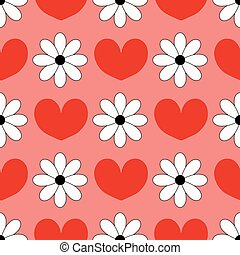 Seamless background with hearts and chamomiles Can be used...