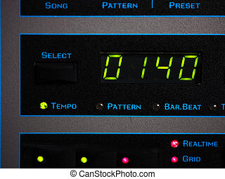 Tempo Of Song - Screen of a synthesizer with song tempo,...