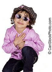 simpático, niño, gafas de sol