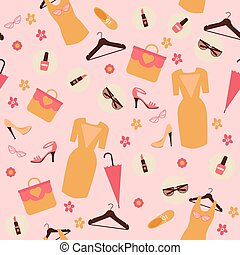 Spring Shopping Seamless Pattern. Accessories, Clothing and Fashion Elements