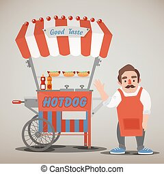 Street Food Concept with Hot Dog Cart and Seller. Vector...